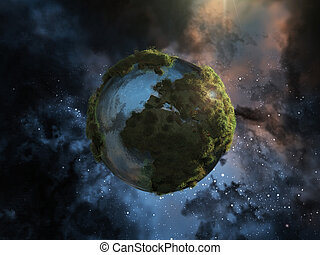 green planet - 3d image of a Mini planet earth with herbs...