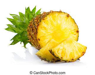 fresco, piña, frutas, con, corte, y, verde, hojas,...