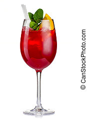 Red alcohol cocktail (Hugo) with orange and mint isolated