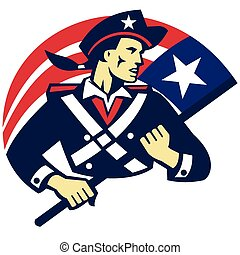 american-minuteman-holding-flag - vector illustration of an...