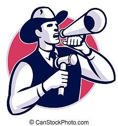 auctioneer-cowboy-bullhorn-gavel - Illustration of a cowboy...