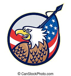 american-eagle-flag-head - Illustration of an American Bald...