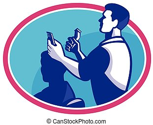 barber-cutting-hair - vector illustration of a barber...