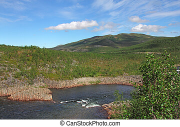 River in mountains - Tundra Landscape with trees, river and...