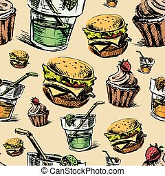Fast food colorful seamless pattern. Hand drawing sketch...