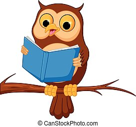Owl cartoon reading a book - Vector Illustration of Owl...