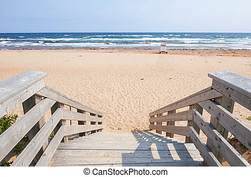 Entrance to Atlantic beach - Wooden steps leading to...