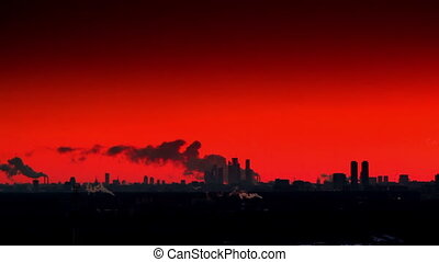 City silhouette at sunset.