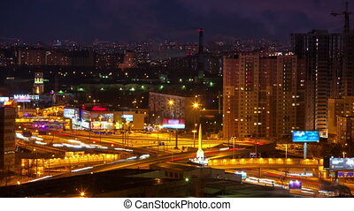 City with big road at night view.