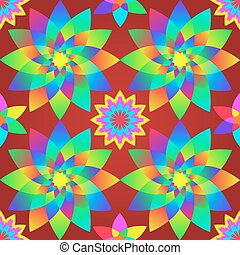 Decorative motley pattern with geometric flowers.