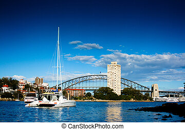 Yacht on Sydney Harbor (Harbour) - Yacht in front of Sydney...