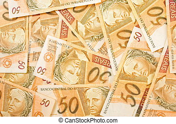 Real  - Fifty Brazilian Real Currencies Background .