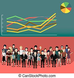 People with analytics - Vector illustration of a group of...
