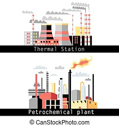 petrochemical plant and thermal pow - graphical illustration...