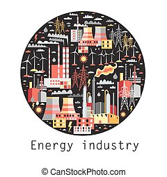 Industry background with industrial power plants and...