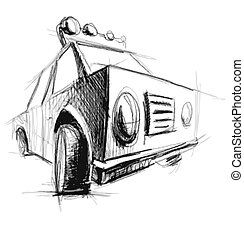 Car isolated on white Hand drawing sketch vector...