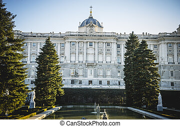Sabatini Gardens in the Royal Palace in Madrid, classical...