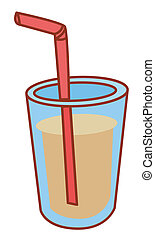 Soda drink with straw - illustration drawing of soda drink...