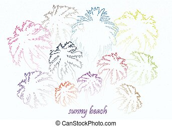 colorful bright sunny beach palm trees vector illustration
