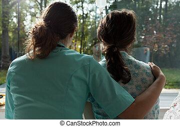 Enfermera, cuidados, paciente, triste