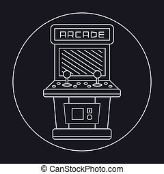 pixel art style simple line drawing of arcade cabinet...