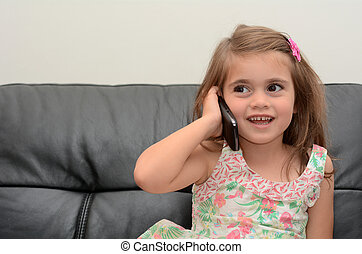 Little girl speak on the phone - Happy little girl speak on...