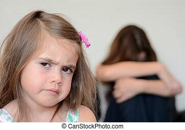 Little girl having a temper tantrum - Little girl (age 05)...