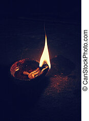Indian Oil Lamp. An oil lamp is an object used to produce...