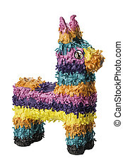 Colorful Pinata - A colorful Mexican pinata isolated on a...