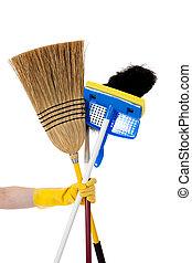 Housework, -, bezem, dweilen, stofdoek