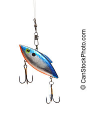 Fishing lure on white - A fishing lure with hooks on a white...
