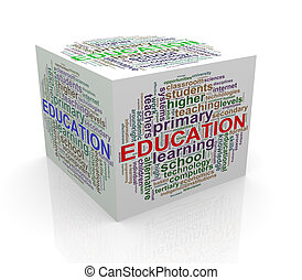 3d cube word tags wordcloud of education
