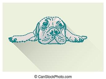 Drawing of lying bullmastiff - Drawing of lying bull mastiff...
