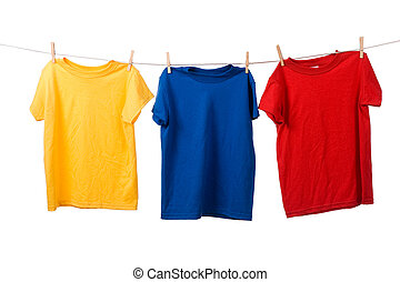 Colorful T-Shirts on White - A group of colorful t-shirts on...
