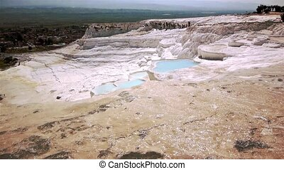 Blue Water Travertine Pools At Pamukkale - blue cyan water...
