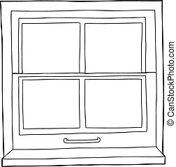 Outline Cartoon Window - Single hand drawn outline of window...