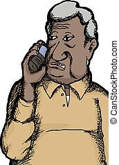 Indian Man on Telephone - One senior citizen Indian man...