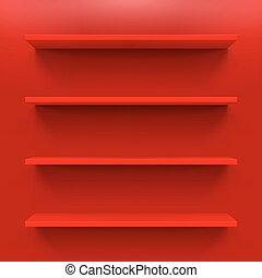Shelves - Gorizontal bookshelves on the red wall. Vector...