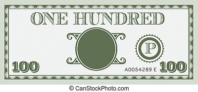 One hundred money bill image. With space to add your text,...