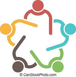 trabajo en equipo, conferencia, grupo, de, 5, personas.,