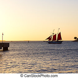 Sailboat under red sail at sunset. Sunset over the ocean in...