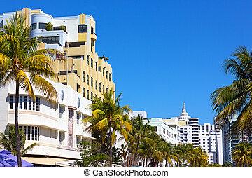 Miami Beach street view. Art deco architecture of Miami Beach in daylight.