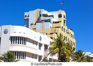Art Deco architecture of Miami Beach waterfront. City buildings of Miami Beach under the bright sun.
