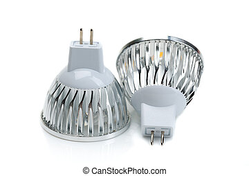 Two LED bulbs MR16. Isolate on white.