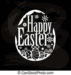 Element of happy Easter on blackboa - Design element for...