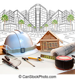 architect working table and two point perspective modern buildin
