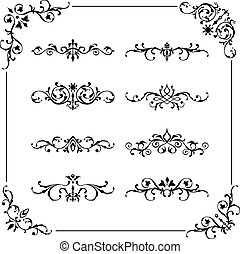 Vintage vector frame, border, divid - Set of vintage vector...