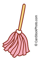 mop - illustration drawing of pink mop isolate in a white...