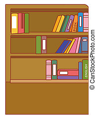 Bookcase - illustration drawing of brown bookcase isolate in...