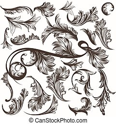 Collection of antique hand drawn ornaments for design